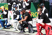5th July 2020; Red Bull Ring, Spielberg Austria; F1 Grand Prix of Austria, Race Day; 44 Lewis Hamilton GBR, Mercedes-AMG Petronas Formula One Team, 5 Sebastian Vettel GER, Scuderia Ferrari Mission Winnow, takes a knee on the grid in support of the Black Lives Matter movement against racism