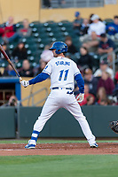 Omaha Storm center fielder Bubba Starling (11) during a Pacific Coast League game against the Memphis Redbirds on April 26, 2019 at Werner Park in Omaha, Nebraska. Memphis defeated Omaha 7-3. (Zachary Lucy/Four Seam Images)