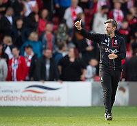 Lincoln City's assistant manager Nicky Cowley applauds the fans at the final whistle<br /> <br /> Photographer Andrew Vaughan/CameraSport<br /> <br /> The EFL Sky Bet League One - Lincoln City v Fleetwood Town - Saturday 31st August 2019 - Sincil Bank - Lincoln<br /> <br /> World Copyright © 2019 CameraSport. All rights reserved. 43 Linden Ave. Countesthorpe. Leicester. England. LE8 5PG - Tel: +44 (0) 116 277 4147 - admin@camerasport.com - www.camerasport.com
