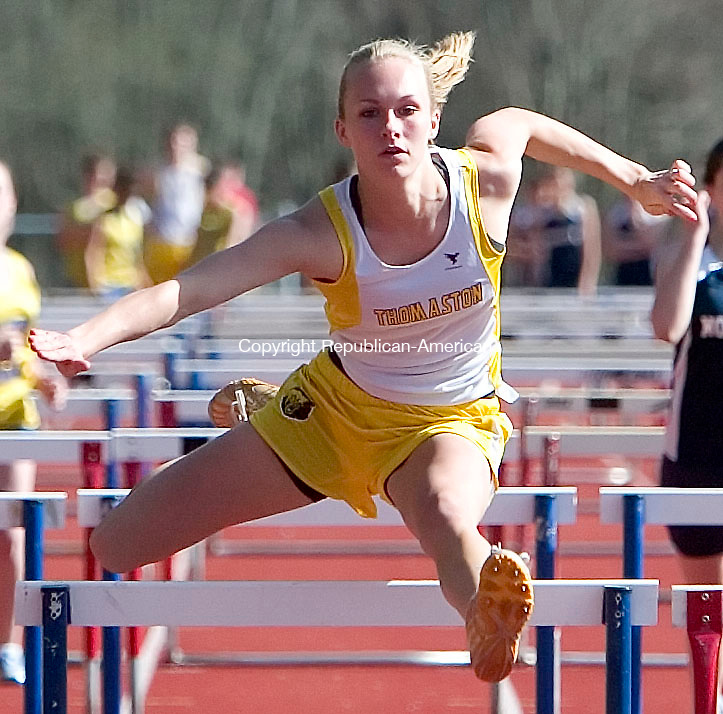 WOODBURY, CT- 23 APRIL 07- 042307JT05-<br /> Thomaston's Jill Sabol finished first in the girls' 100 meter hurdle event on Tuesday's track meet at Nonnewaug, which also hosted Gilbert.<br /> Josalee Thrift Republican-American