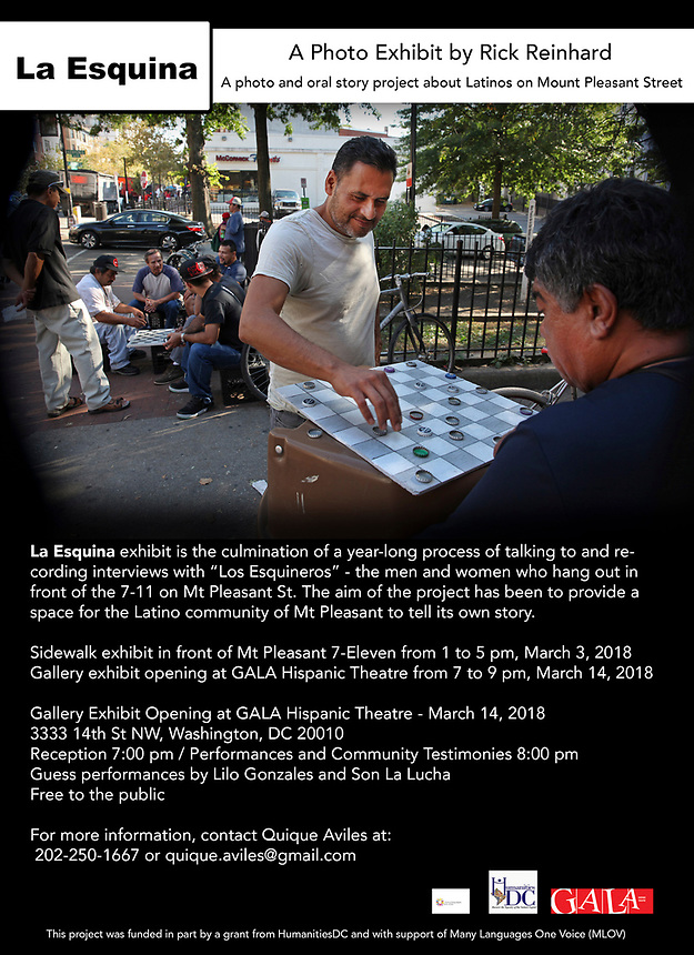 (170929RREI2808)  La Esquina Documentary Project. Latinos have gathered near the 7 - 11 at the corner of Mt. Pleasant St. and Kenyon St. NW. for more than 40 years.  Mt. Pleasant, Washngton DC September 29 ,2017 . ©  Rick Reinhard  2017     email   rick@rickreinhard.com