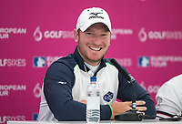 Chris Wood (England) during a press interview ahead of the GOLFSIXES ProAm  at Centurion Club, St Albans, England on 5 May 2017. Photo by Andy Rowland.