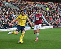 2nd February 2020; Turf Moor, Burnley, Lanchashire, England; English Premier League Football, Burnley versus Arsenal; Granit Xhaka of Arsenal passes inside as he is under pressure from  Matthew Lowton of Burnley