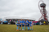 The Blue X-Factor Team (l-r) Mackenzie Sol (Singer / 1 Million YouTube views), Jordi Whitworth of X-Factor, Mason Noise of X-Factor, Jesse McClure of X-Factor, Josh Daniel of X-Factor & Tarkan Basara during the SOCCER SIX Celebrity Football Event at the Queen Elizabeth Olympic Park, London, England on 26 March 2016. Photo by Andy Rowland.