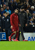 Liverpool's Mohamed Salah (left) & Liverpool manager Jürgen Klopp (right) after match celebrations <br /> <br /> Photographer David Horton/CameraSport<br /> <br /> The Premier League - Brighton and Hove Albion v Liverpool - Saturday 12th January 2019 - The Amex Stadium - Brighton<br /> <br /> World Copyright © 2018 CameraSport. All rights reserved. 43 Linden Ave. Countesthorpe. Leicester. England. LE8 5PG - Tel: +44 (0) 116 277 4147 - admin@camerasport.com - www.camerasport.com