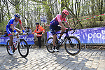 Tom Scully (NZL) EF Education First and Ramon Sinkeldam (NED) Groupama-FDJ on the the first ascent of the Kemmelberg during the 2019 Gent-Wevelgem in Flanders Fields running 252km from Deinze to Wevelgem, Belgium. 31st March 2019.<br /> Picture: Eoin Clarke | Cyclefile<br /> <br /> All photos usage must carry mandatory copyright credit (© Cyclefile | Eoin Clarke)