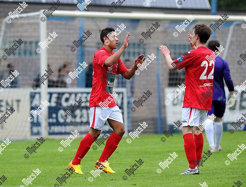 2013-07-03 / Voetbal / seizoen 2013-2014 / Wijnegem - R. Antwerp FC / Jordan Faucher (l. Antwerp) viert zijn doelpunt<br /><br />Foto: Mpics.be