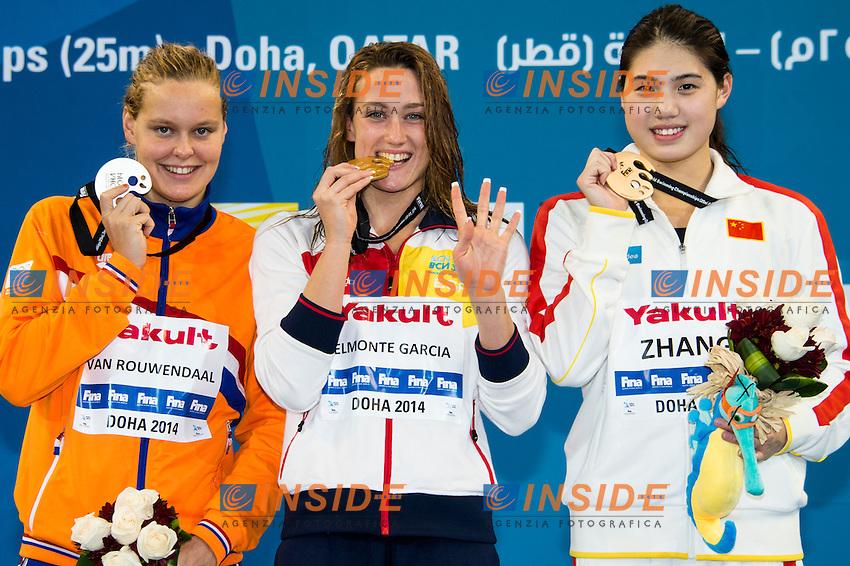 BELMONTE GARCIA Mireya ESP Gold MedalCR<br /> VAN ROUWENDAAL Sharon Silver Medal NED<br /> ZHANG Yufei Bronze Medal CHN<br /> Women's 400m Freestyle Final<br /> Doha Qatar 05-12-2014 Hamad Aquatic Centre, 12th FINA World Swimming Championships (25m). Nuoto Campionati mondiali di nuoto in vasca corta.<br /> Photo Giorgio Scala/Deepbluemedia/Insidefoto
