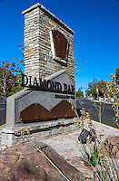 "A full view near sunrise of the sign at the eatern edge of Diamond Bar's Grand Ave.  This was part of the 2015 rebuild of the Grand Avenue and Longview Drive intersection for Diamond Bar's 2015 ""Grand Avenue Beautification"" project, landscape architecture for the project was by David Volz Design."