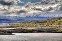 Mount Hekla Volcano across lake Bjarnalon