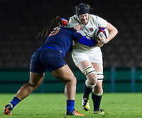 Emily Braund in action, England Women v France Women in an Old Mutual Wealth Series, Autumn International match at Twickenham Stoop, Twickenham, England, on 9th November 2016. Full Time score 10-5
