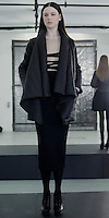 "Catherine Malandrino Fall/Winter 2013, LE NORMANDIE, KALEIGH: ROPE VELVET EMBROIDERT BLOUSE/BLACK DOUBLE KNIT PENCIL SKIRT/BLACK DRAPEY ""STREAMLINE"" QUILTED COAT"