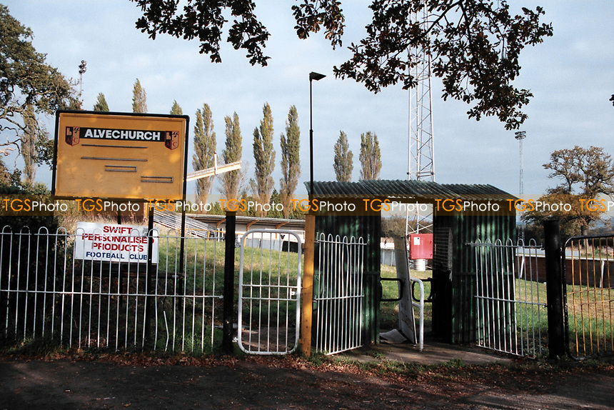 Ground entrance at Alvechurch Villa FC Football Ground, Lye Meadow, Redditch Road, Alvechurch, Warwickshire, pictured on 24th October 1993