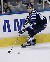 QMJHL (LHJMQ) Chicoutimi Sagueneens  #44 - Luc-Olivier Bain in action against the Quebec Remparts at Le Colisee pepsi in Quebec City.