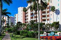 Barefoot Beach Club Resort condominium building on Barefoot Beach Road, Bonita Springs, USA.