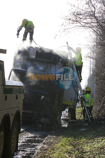 Fire service from Dunleer and Drogheda attended the scene of a truck fre on the M1 motorway at Dunleer...Picture Fran Caffrey/Newsfile.ie
