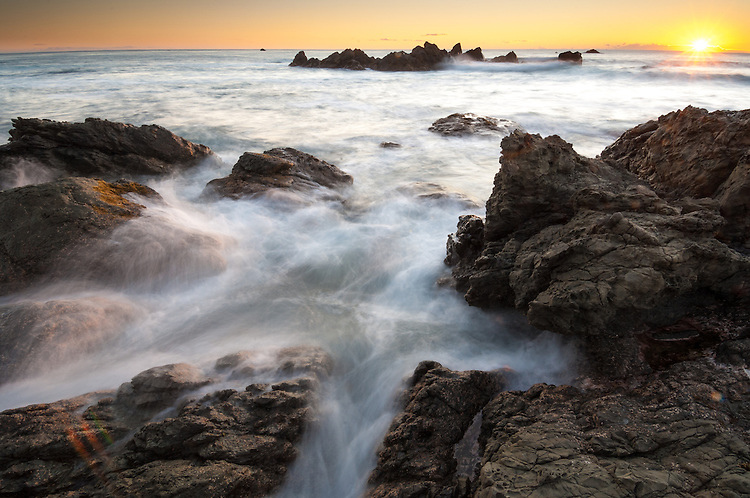 Sunrise seascape image - Kaikoura Coast, South Island New Zealand - stock photo, canvas, fine art print