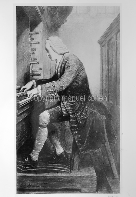 Portrait of Johann Sebastian Bach, 1685-1750, German Baroque composer, playing the organ, painting. Copyright © Collection Particuliere Tropmi / Manuel Cohen