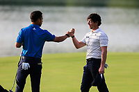 Xander Schauffele (USA) and Rory McIlroy (NIR) on the 9th green during round 1 at the WGC HSBC Champions, Sheshan Golf Club, Shanghai, China. 31/10/2019.<br /> Picture Fran Caffrey / Golffile.ie<br /> <br /> All photo usage must carry mandatory copyright credit (© Golffile | Fran Caffrey)