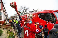 A Liverpool fan cheers as the players' coach arrives<br /> <br /> Photographer AlexDodd/CameraSport<br /> <br /> The Premier League - Liverpool v Manchester United - Sunday 16th December 2018 - Anfield - Liverpool<br /> <br /> World Copyright © 2018 CameraSport. All rights reserved. 43 Linden Ave. Countesthorpe. Leicester. England. LE8 5PG - Tel: +44 (0) 116 277 4147 - admin@camerasport.com - www.camerasport.com