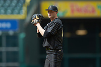 Vanderbilt Commodores starting pitcher Drake Fellows (66) looks to his catcher for the sign against the Sam Houston State Bearkats in game one of the 2018 Shriners Hospitals for Children College Classic at Minute Maid Park on March 2, 2018 in Houston, Texas. The Bearkats walked-off the Commodores 7-6 in 10 innings.   (Brian Westerholt/Four Seam Images)