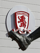30th September 2017, Riverside Stadium, Middlesbrough, England; EFL Championship football, Middlesbrough versus Brentford; The Middlesbrough crest and the famous left foot of the Wilf Mannion statue at the Riverside Stadium