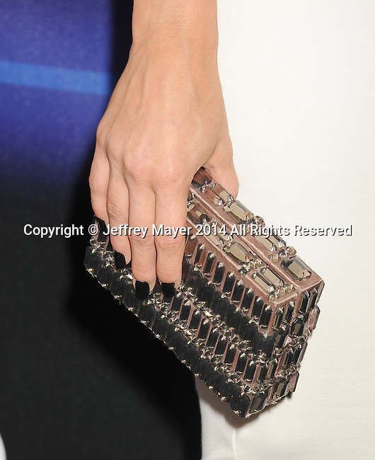 LOS ANGELES, CA- AUGUST 21: Actress Cara Santana (handbag detail) at the Audi Emmy Week Celebration at Cecconi's Restaurant on August 21, 2014 in Los Angeles, California.