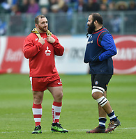 Yann Thomas of Gloucester has a chat with Kane Palma-Newport of Bath Rugby prior to the match. Rugby Aviva Premiership match, between Bath Rugby and Gloucester Rugby on April 30, 2017 at the Recreation Ground in Bath, England. Photo by: Patrick Khachfe / Onside Images