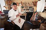 Historic Monteverde Store museum, docent Bob Fyock, docent, in period costume, Sutter Creek, Calif.