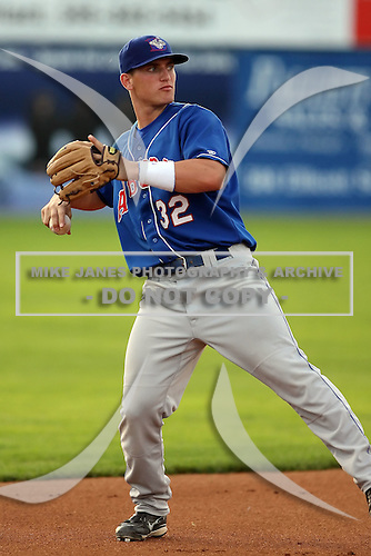 August 7 2008:  Third baseman Mark (Robert) Sobolewski of the Auburn Doubledays, Class-A affiliate of the Toronto Blue Jays, during a game at Dwyer Stadium in Batavia, NY.  Photo by:  Mike Janes/Four Seam Images