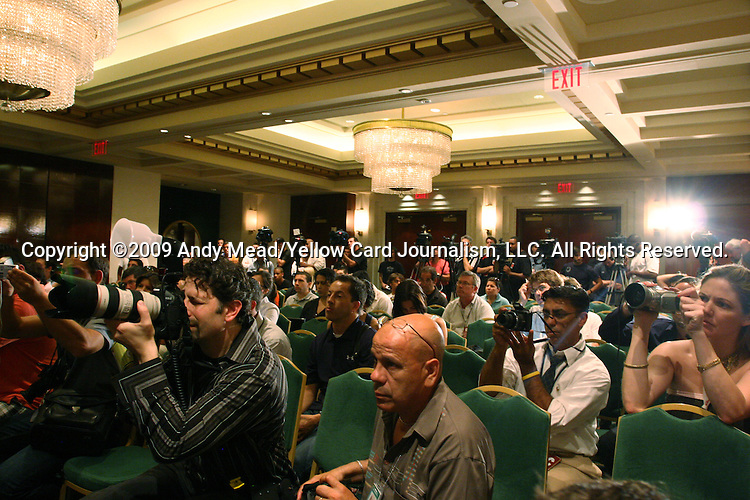 08 August 2009: A large contingent of media filled the ballroom for the press conference. Real Madrid of Spain's La Liga and DC United of Major League Soccer held a press conference at the Sofitel Hotel in Washington, DC a day before playing an international club friendly soccer match.