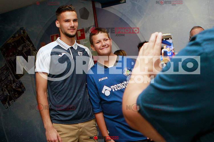 Getafe CF's new player Filip Manojlovic with the supporters during his official presentation.  August 8, 2017. (ALTERPHOTOS/Acero) /NortePhoto.com