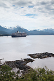 USA, Alaska, Sitka, a cruise ship is anchored for the night in Crescent Bay, Sitka Sound