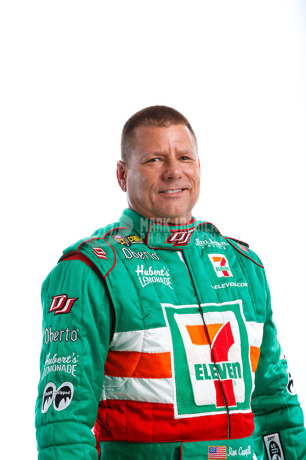 Feb 8, 2017; Pomona, CA, USA; NHRA funny car driver Jim Campbell poses for a portrait during media day at Auto Club Raceway at Pomona. Mandatory Credit: Mark J. Rebilas-USA TODAY Sports