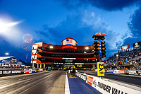 Jun 16, 2017; Bristol, TN, USA; Overall view of the starting line of Bristol Dragway following NHRA qualifying for the Thunder Valley Nationals. Mandatory Credit: Mark J. Rebilas-USA TODAY Sports