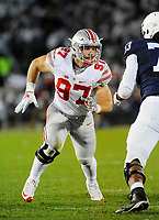 22 October 2016:  Ohio State DE Nick Bosa (97) rushes the QB. The Penn State Nittany Lions upset the #2 ranked Ohio State Buckeyes 24-21 at Beaver Stadium in State College, PA. (Photo by Randy Litzinger/Icon Sportswire)