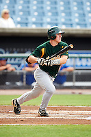 Benton Breazeale #52 of Pigeon Forge High School in Louisville, Tennessee playing for the Oakland Athletics scout team during the East Coast Pro Showcase at Alliance Bank Stadium on August 1, 2012 in Syracuse, New York.  (Mike Janes/Four Seam Images)