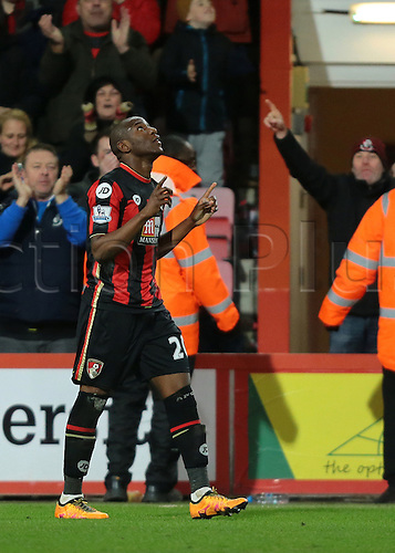 01.03.2016. Vitality Stadium, Bournemouth, England. Barclays Premier League. Bournemouth versus Southampton. Bournemouth Forward Benik Afobe points to the sky after putting Bournemouth's second past Southampton Goalkeeper Fraser Forster, 2-0