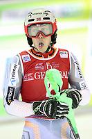 January 8th 2020, Madonna di Campiglio, Italy; FIS Alpine Ski World Cup Men's Night Slalom in Madonna di Campiglio, Italy on January 8, 2020,<br /> Henrik Kristoffersen (NOR) celebrates at the finish