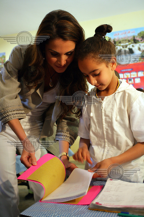 Queen Rania of Jordan, UNICEF's Eminent Advocate for Children, visiting a school in Fez.