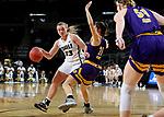 SIOUX FALLS, SD - MARCH 8: Keni Jo Lippe #33 of the Oral Roberts Golden Eagles drives to the basket against Grace Gilmore #21 of the Western Illinois Leathernecks at the 2020 Summit League Basketball Championship in Sioux Falls, SD. (Photo by Dave Eggen/Inertia)