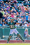 16 July 2017: Vermont Lake Monsters catcher Iolana Akau in action against the Auburn Doubledays at Centennial Field in Burlington, Vermont. The Monsters defeated the Doubledays 6-3 in NY Penn League action. Mandatory Credit: Ed Wolfstein Photo *** RAW (NEF) Image File Available ***