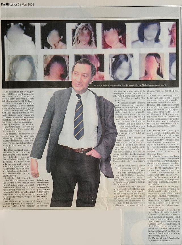 Julian Levene, The Observer Newspaper Tearsheet, 26 May 2002..Pic Jayne Russell