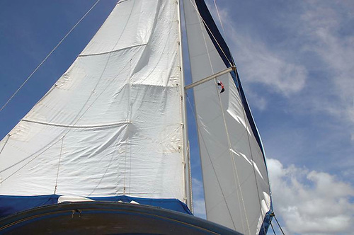 Damage where the mainsail hits the spreaders often occurs even if you have spreader patches
