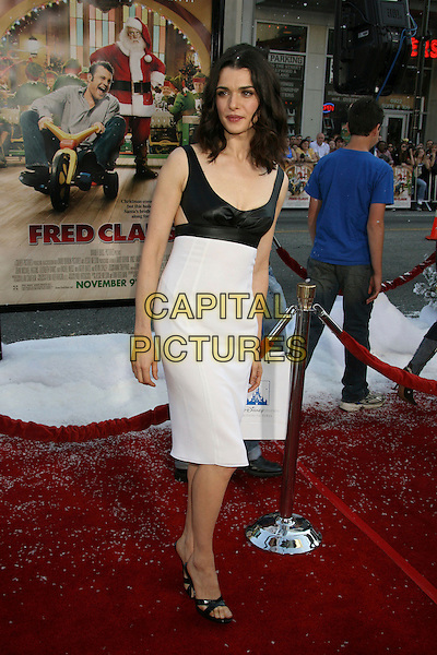 "RACHEL WEISZ.""Fred Claus"" Los Angeles Premiere held at Grauman's Chinese Theatre, Hollywood, California, USA..November 3rd, 2007.full length black white dress open-toe shoes .CAP/ADM/RE.©Russ Elliot/AdMedia/Capital Pictures."