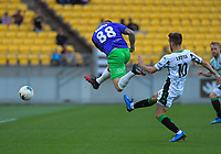 Gary Hooper shoots for goal during the A-League football match between Wellington Phoenix and Western United FC at Sky Stadium in Wellington, New Zealand on Friday, 21 February 2020. Photo: Dave Lintott / lintottphoto.co.nz