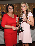 Chairperson of the Louth Ladies Committee Ann Meade presents Lisa Finglas with the Senior Ladies Player of the Year at the Newtown Blues awards night in the Westcourt Hotel.  Photo:Colin Bell/pressphotos.ie