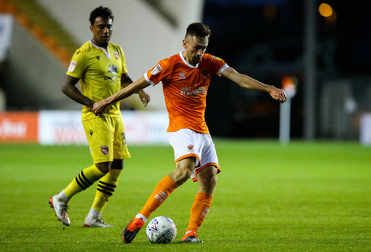 Blackpool Ryan Hardie shoots at goal<br /> <br /> Photographer Alex Dodd/CameraSport<br /> <br /> EFL Leasing.com Trophy - Northern Section - Group G - Blackpool v Morecambe - Tuesday 3rd September 2019 - Bloomfield Road - Blackpool<br />  <br /> World Copyright © 2018 CameraSport. All rights reserved. 43 Linden Ave. Countesthorpe. Leicester. England. LE8 5PG - Tel: +44 (0) 116 277 4147 - admin@camerasport.com - www.camerasport.com