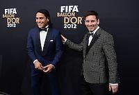 Fussball International  FIFA Ballon d Or / Weltfussballer 2012   07.01.2013 Lionel Messi (re, Argentinien) mit Falcao (Kolumbien)