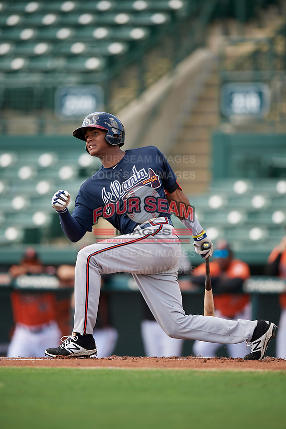 Atlanta Braves Cristian Pache (7) at bat during an Instructional League game against the Baltimore Orioles on September 25, 2017 at Ed Smith Stadium in Sarasota, Florida.  (Mike Janes/Four Seam Images)
